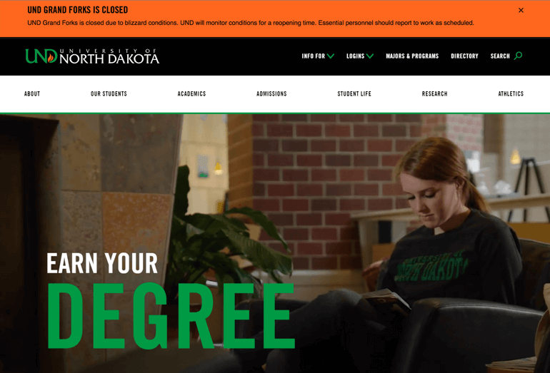 University of North Dakota's website refresh provides immediate communication with students – something that the best digital marketing campaigns will include.