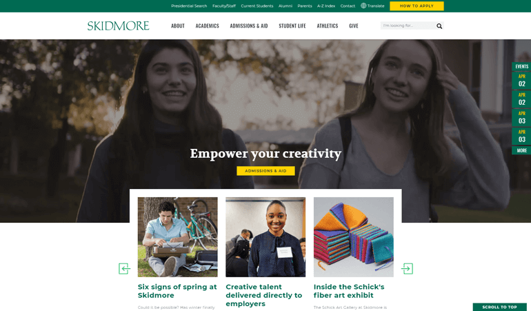 As one of the best college marketing campaigns, Skidmore College refreshed its website with modern design elements and informative content.