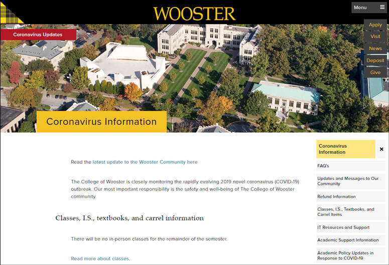 The College of Wooster created crisis pages targeted to specific audiences.