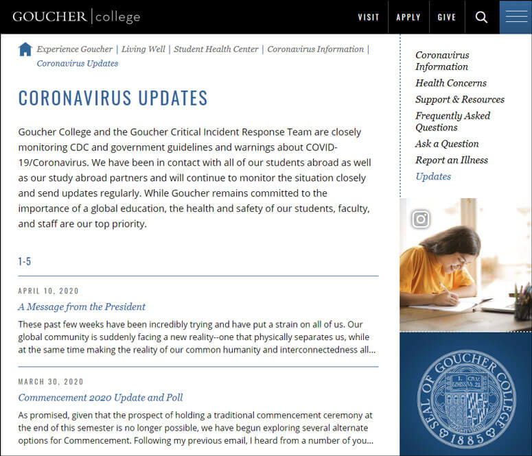 Goucher College has kept a chronological archive of crisis updates so that students can go back and find important information as it was first reported.