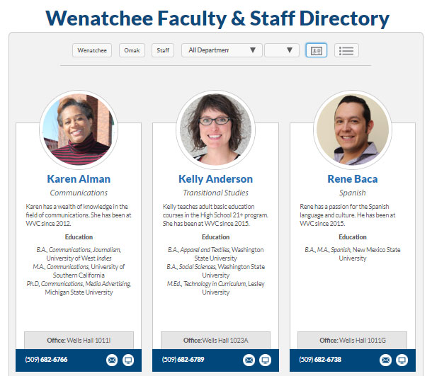 Wenatchee Valley College's directory is attractive and informative, with both images and information appearing on the directory results page.