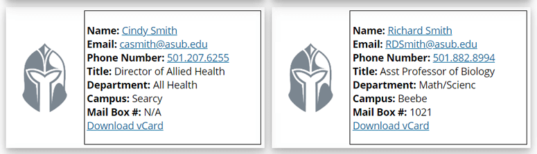 Arkansas State University-Beebe lists contacts in the form of cards that can then be downloaded from their faculty directory.
