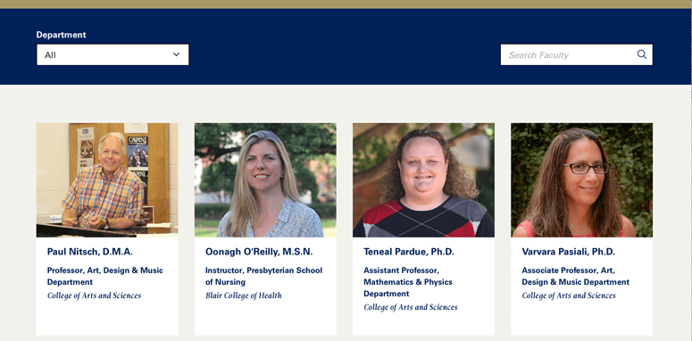 Queens University of Charlotte features faculty in tiles on the directory page.