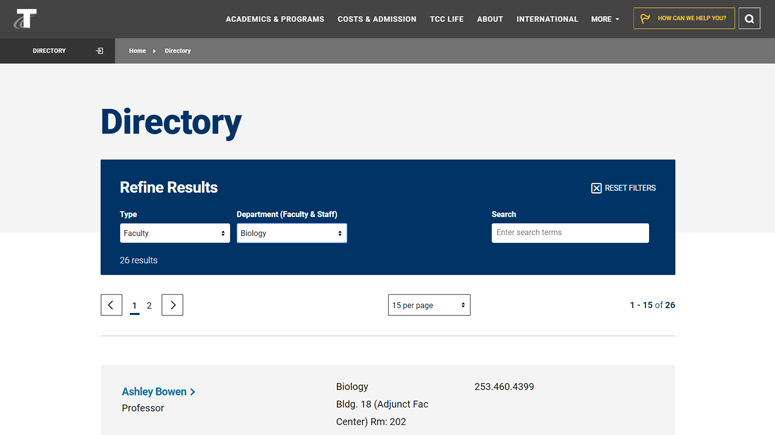 Tacoma Community College lists vital contact information directly on the directory page.