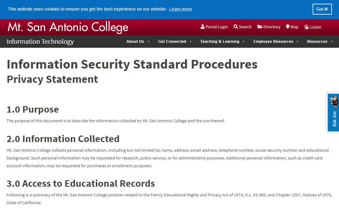 US colleges and universities should have a clear privacy policy available on their website, like that of Mt. San Antonio College.