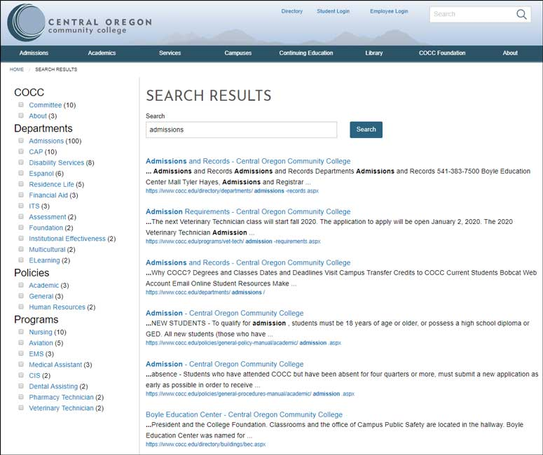 Central Oregon Community College effectively uses OU Search with parametric filtering, which allows site visitors to narrow down search results by keywords or categories.
