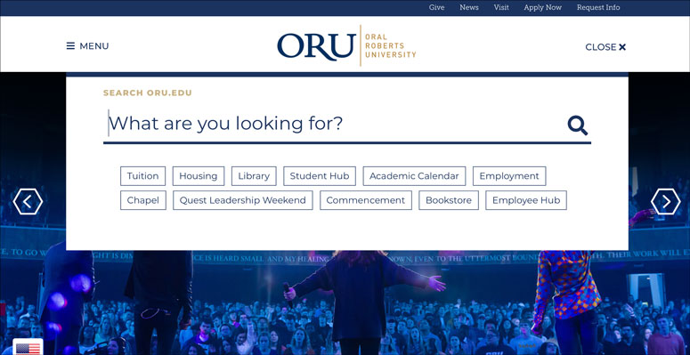 In addition to a search box, Oral Roberts University includes top search topics in its site search.
