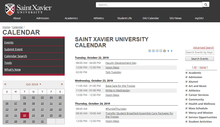 OU Calendar makes it easy for Saint Xavier University to highlight all campus activities in one place.